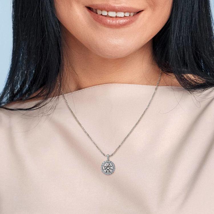 Halo Diamond Solitaire Pendant in Platinum (1 1/2 ctw) | 04