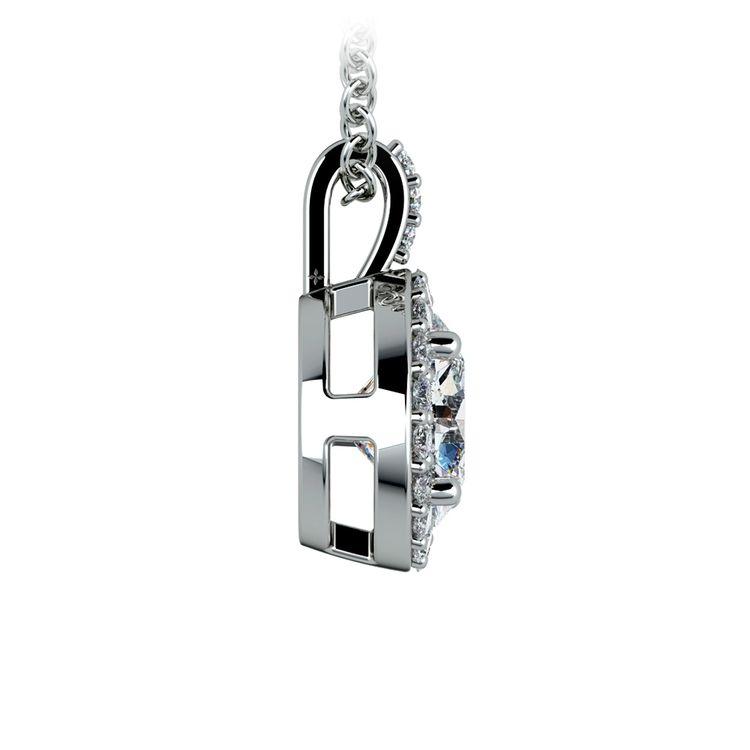 Halo Diamond Solitaire Pendant in Platinum (1 1/2 ctw) | 02