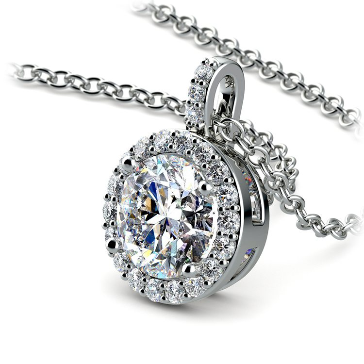 Halo Diamond Solitaire Pendant in Platinum (1 1/2 ctw) | 03