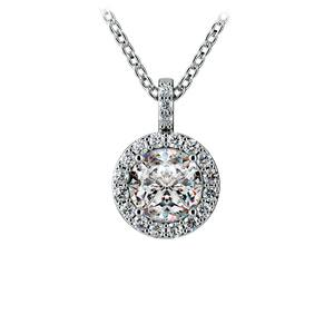 Halo Diamond Solitaire Pendant in Platinum (1 ctw)