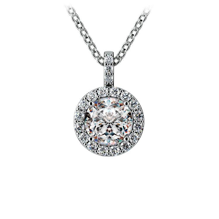 Halo Diamond Solitaire Pendant in Platinum (1 ctw) | 01
