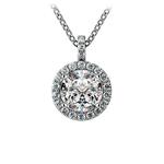 Halo Diamond Solitaire Pendant in White Gold (1 1/2 ctw) | Thumbnail 01
