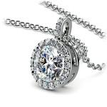 Halo Diamond Solitaire Pendant in White Gold (1 1/2 ctw) | Thumbnail 03