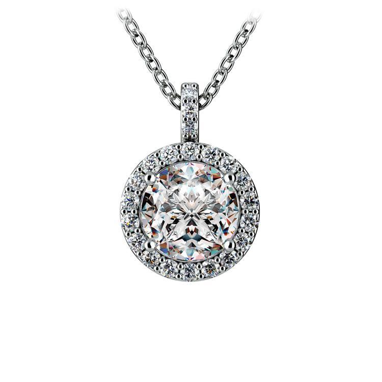 Halo Diamond Solitaire Pendant in White Gold (1 1/2 ctw) | 01
