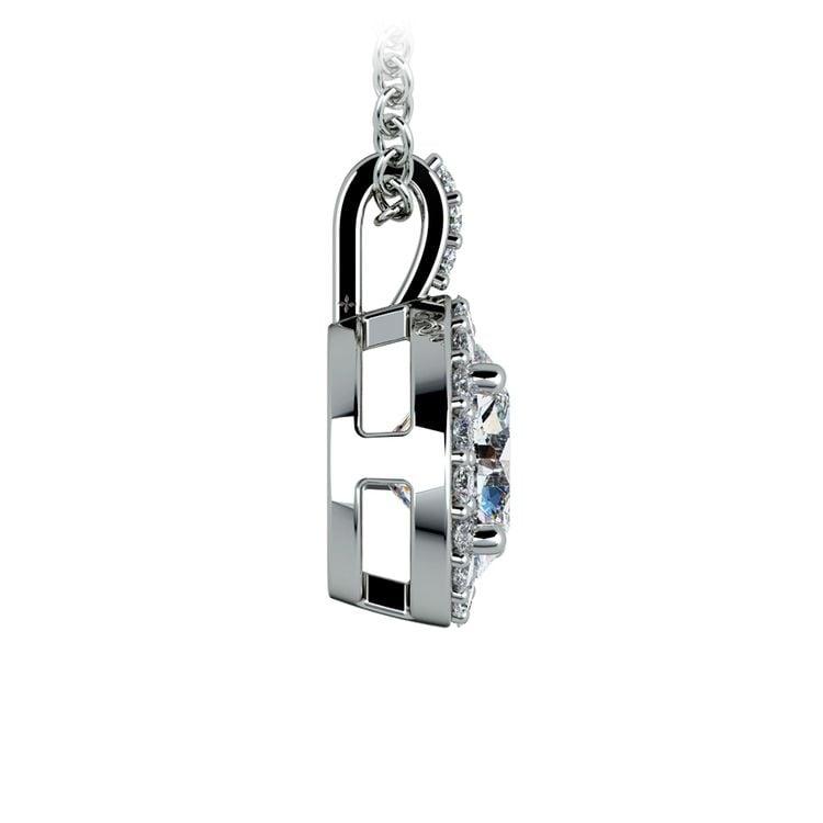 Halo Diamond Solitaire Pendant in White Gold (1 1/2 ctw) | 02