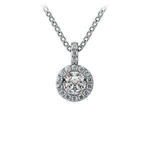 Halo Diamond Solitaire Pendant in White Gold (1/2 ctw)
