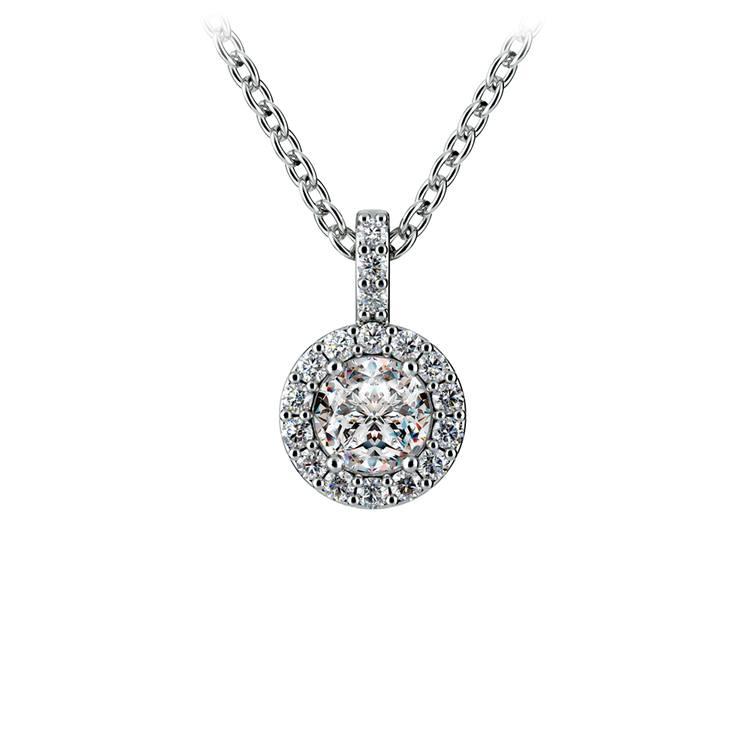 Halo Diamond Solitaire Pendant in White Gold (1/2 ctw) | 01