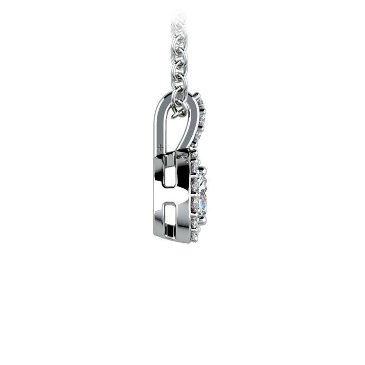 Halo Diamond Solitaire Pendant in White Gold (1/2 ctw) | 02