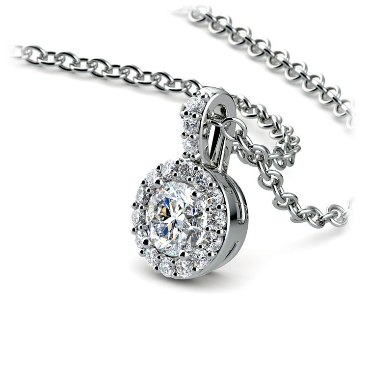 Halo Diamond Solitaire Pendant in White Gold (1/2 ctw) | 03