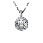 Halo Diamond Solitaire Pendant in White Gold (1 ctw) | Thumbnail 01