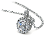 Halo Diamond Solitaire Pendant in White Gold (1 ctw) | Thumbnail 03