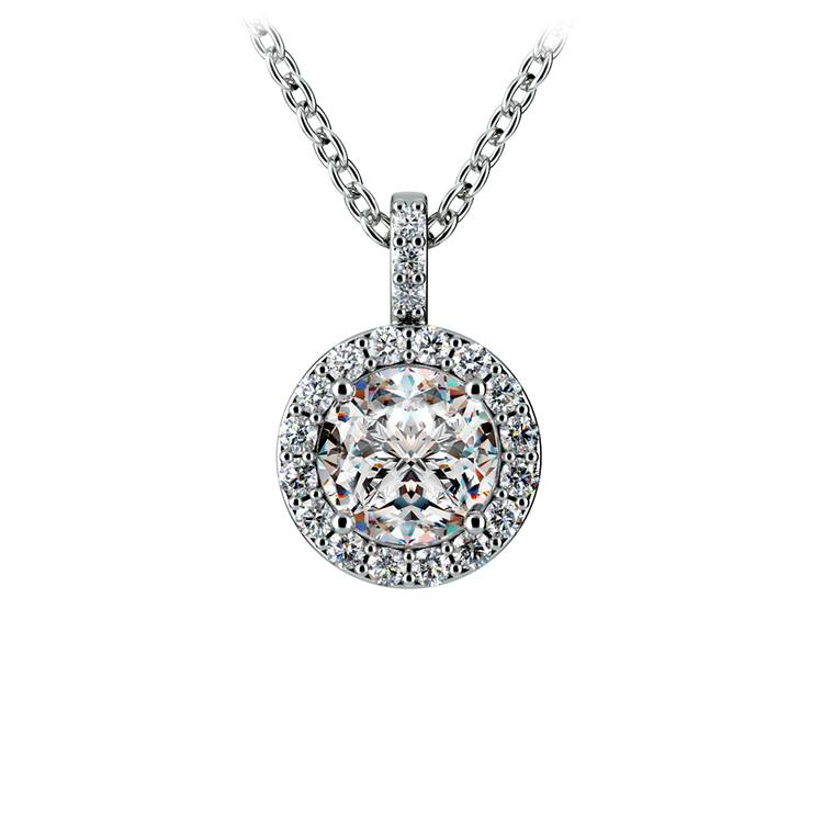 Halo Diamond Solitaire Pendant in White Gold (1 ctw) | 01
