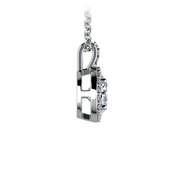 Halo Diamond Solitaire Pendant in White Gold (1 ctw) | 02