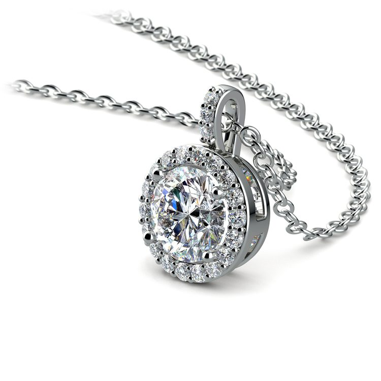 Halo Diamond Solitaire Pendant in White Gold (1 ctw) | 03