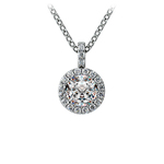 Halo Diamond Solitaire Pendant in White Gold (3/4 ctw) | Thumbnail 01