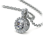 Halo Diamond Solitaire Pendant in White Gold (3/4 ctw) | Thumbnail 03