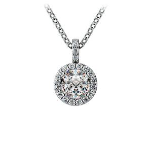 Halo Diamond Solitaire Pendant in White Gold (3/4 ctw)