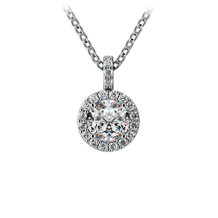 Halo Diamond Solitaire Pendant in White Gold (3/4 ctw) | 01