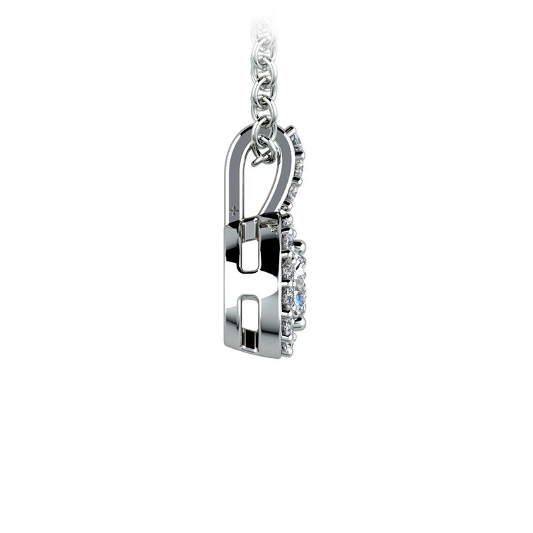 Halo Diamond Solitaire Pendant in White Gold (3/4 ctw) | 02