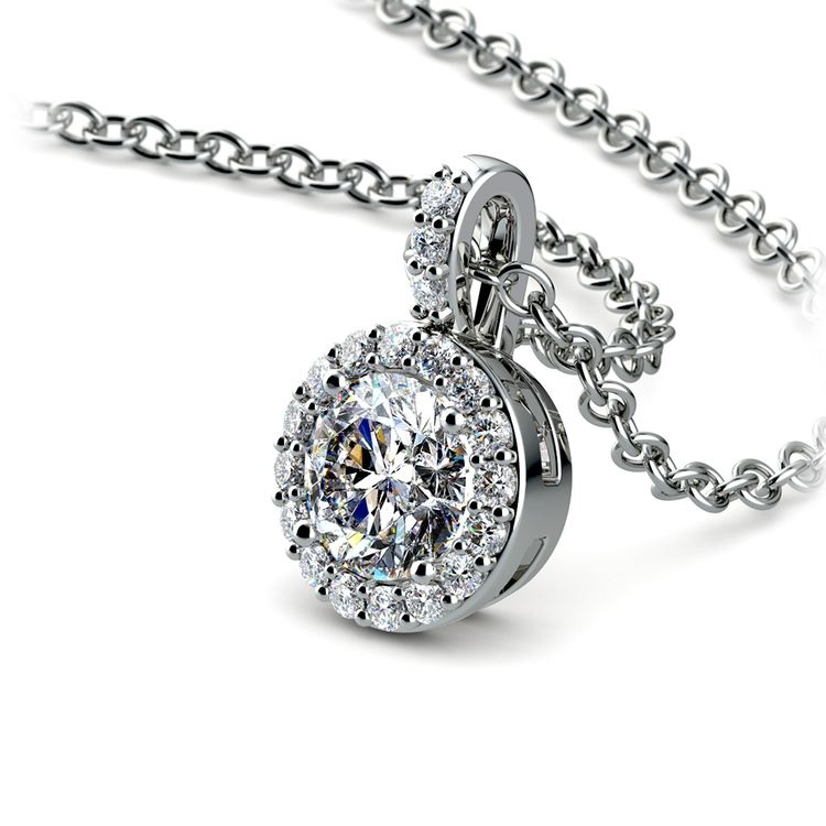 Halo Diamond Solitaire Pendant in White Gold (3/4 ctw) | 03