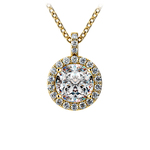 Halo Diamond Solitaire Pendant in Yellow Gold (1 1/2 ctw) | Thumbnail 01