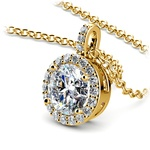 Halo Diamond Solitaire Pendant in Yellow Gold (1 1/2 ctw) | Thumbnail 03