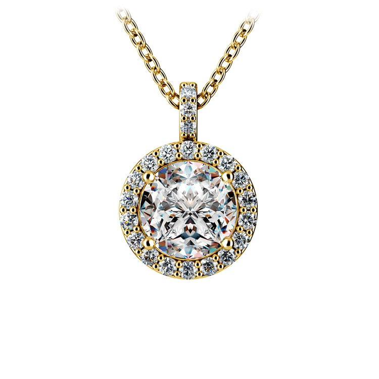 Halo Diamond Solitaire Pendant in Yellow Gold (1 1/2 ctw) | 01