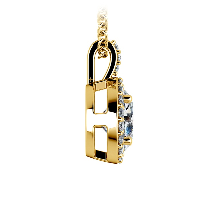Halo Diamond Solitaire Pendant in Yellow Gold (1 1/2 ctw) | 02
