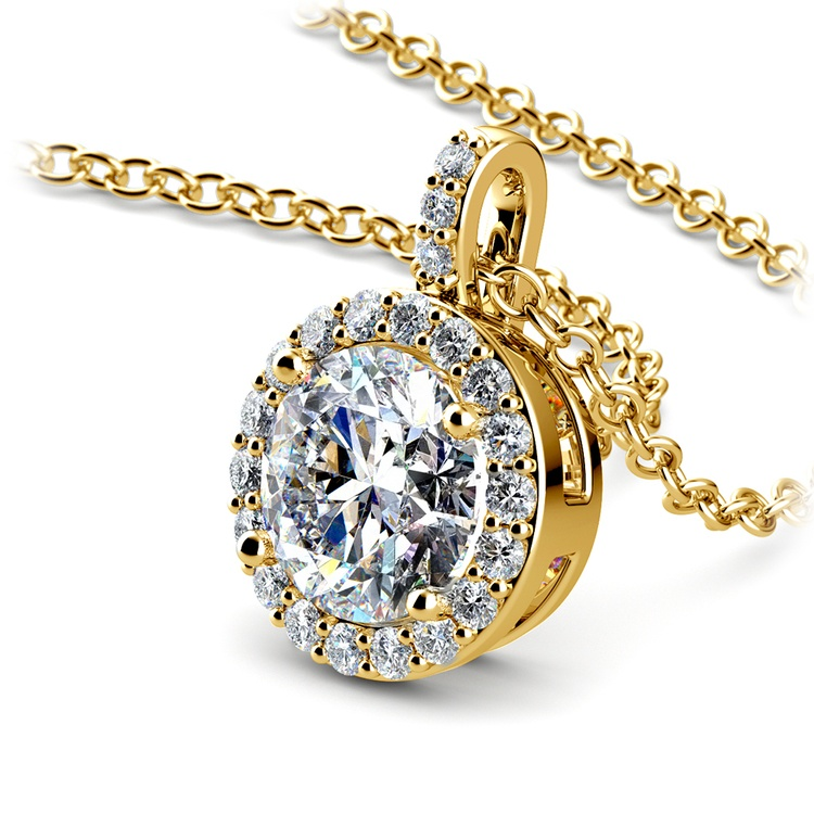 Halo Diamond Solitaire Pendant in Yellow Gold (1 1/2 ctw) | 03