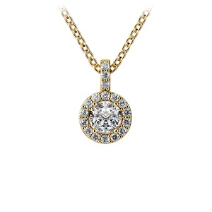 Halo Diamond Solitaire Pendant in Yellow Gold (1/2 ctw)