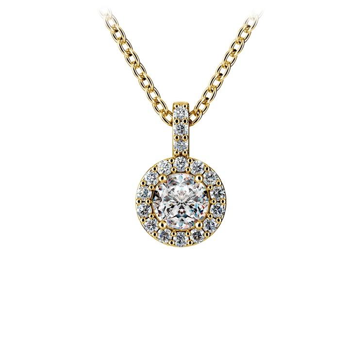 Halo Diamond Solitaire Pendant in Yellow Gold (1/2 ctw) | 01
