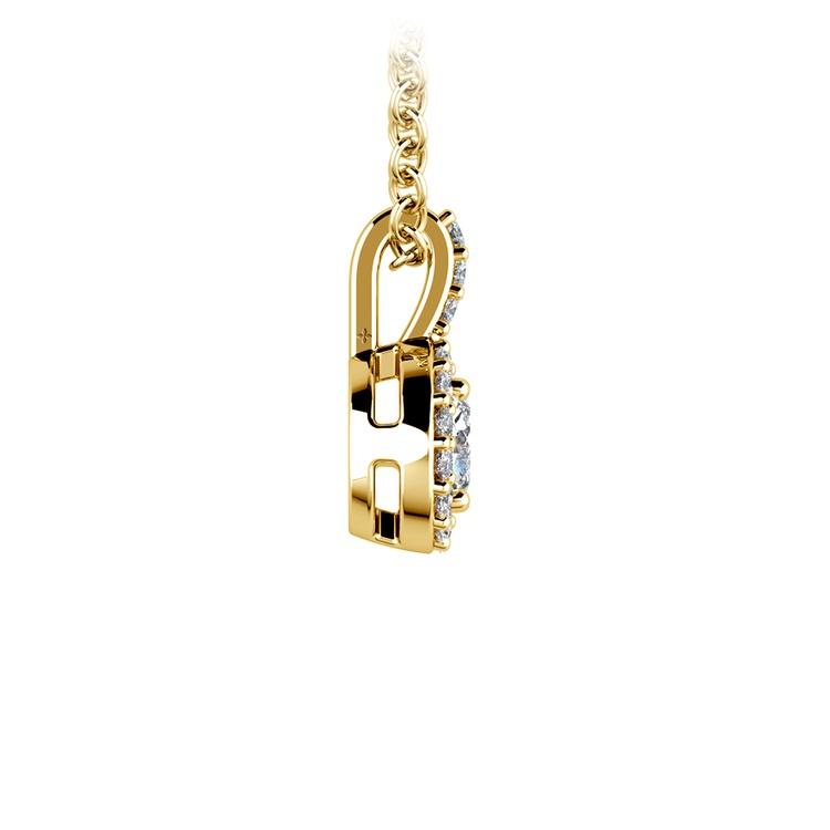 Halo Diamond Solitaire Pendant in Yellow Gold (1/2 ctw) | 02