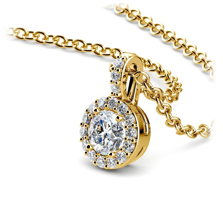 Halo Diamond Solitaire Pendant in Yellow Gold (1/2 ctw) | 03