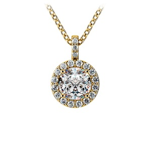 Halo Diamond Solitaire Pendant in Yellow Gold (1 ctw)