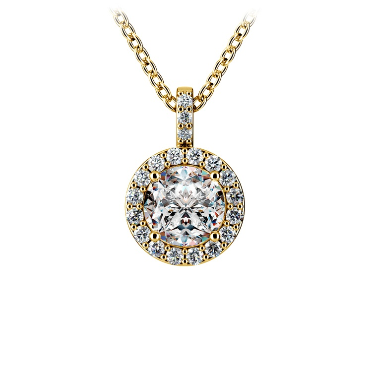 Halo Diamond Solitaire Pendant in Yellow Gold (1 ctw) | 01
