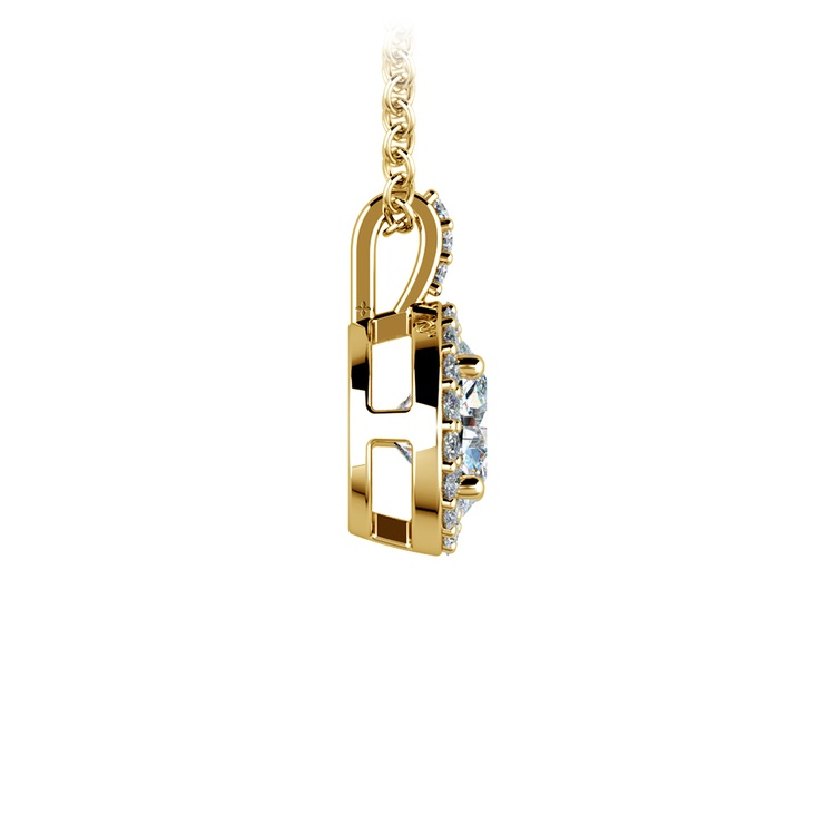 Halo Diamond Solitaire Pendant in Yellow Gold (1 ctw) | 02