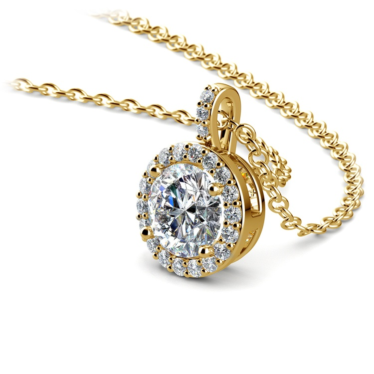 Halo Diamond Solitaire Pendant in Yellow Gold (1 ctw) | 03