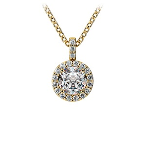 Halo Diamond Solitaire Pendant in Yellow Gold (3/4 ctw)