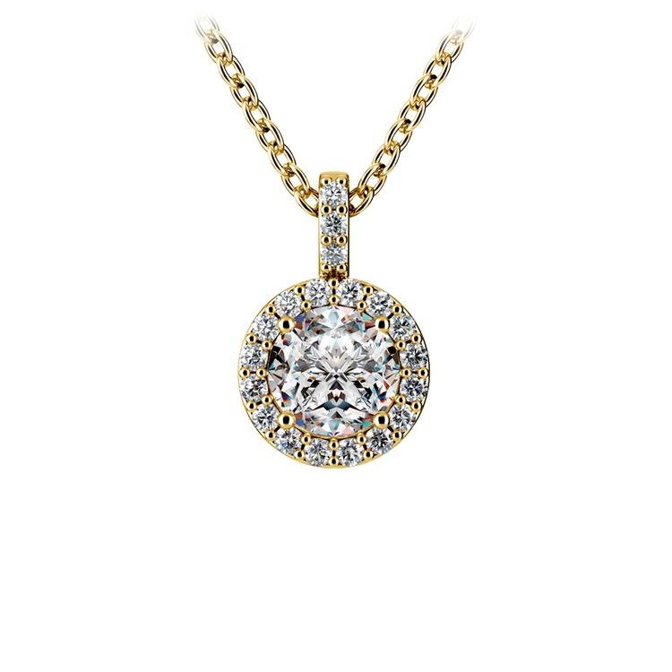 Halo Diamond Solitaire Pendant in Yellow Gold (3/4 ctw) | 01