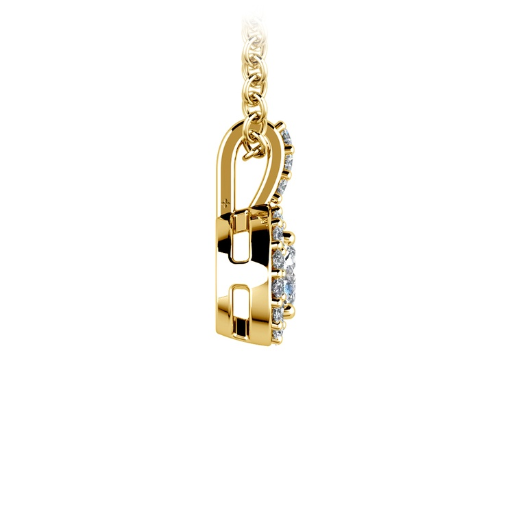 Halo Diamond Solitaire Pendant in Yellow Gold (3/4 ctw) | 02