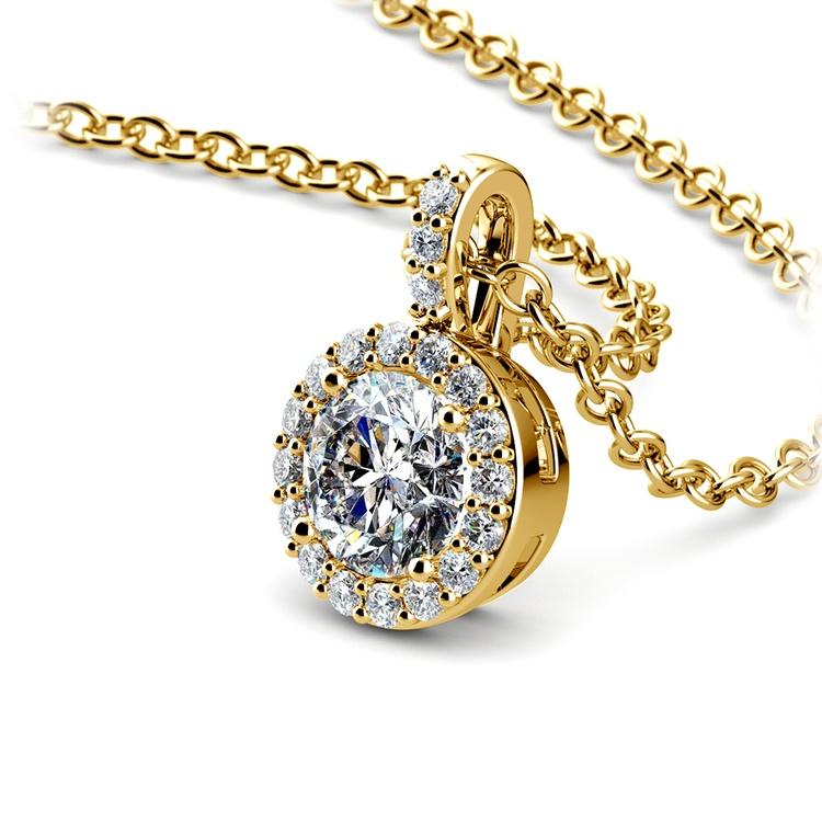 Halo Diamond Solitaire Pendant in Yellow Gold (3/4 ctw) | 03