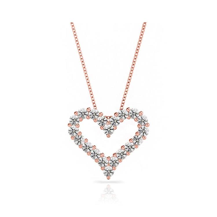 Heart Shaped Diamond Necklace In Rose Gold | 01