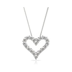 Heart Shaped Diamond Necklace in White Gold