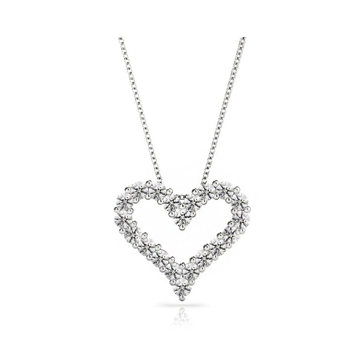 Heart Shaped Diamond Necklace in White Gold | 01