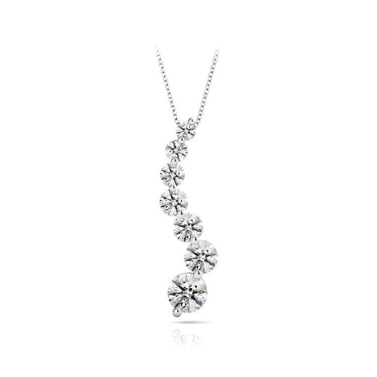 Journey Diamond Necklace in White Gold (2 Carat) | 01