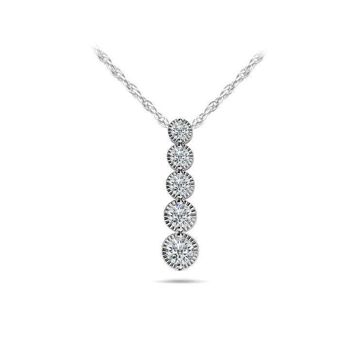Milgrain Diamond Drop Pendant in White Gold (1/3 ctw) | 01