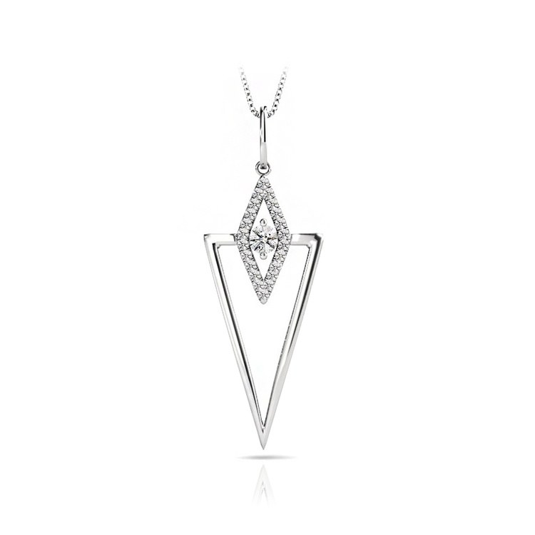 Modern Triangle Diamond Necklace in White Gold | 01