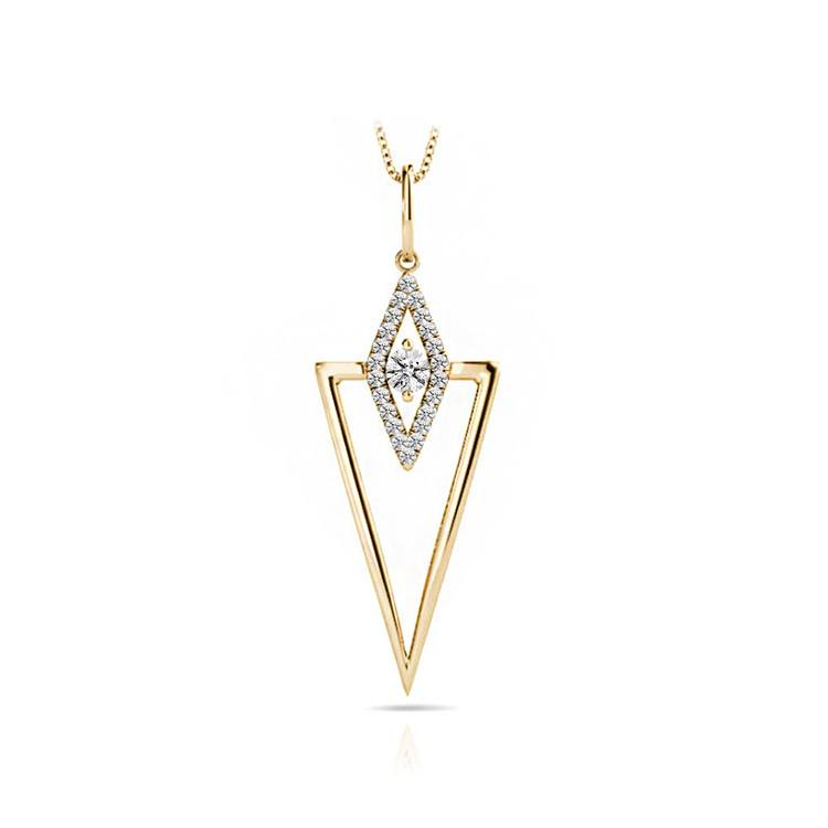 Modern Triangle Diamond Necklace in Yellow Gold | 01