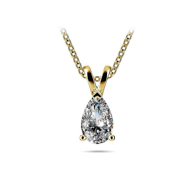 Pear Diamond Solitaire Necklace In Yellow Gold (1/2 ctw) | 01