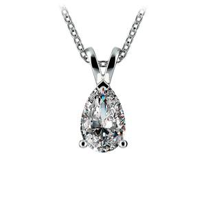 Pear Diamond Solitaire Pendant in Platinum (1 1/2 ctw)